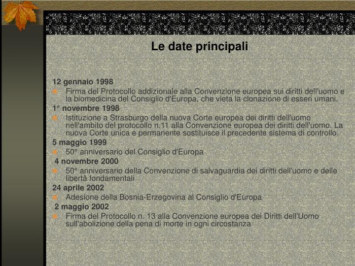 Le date principali