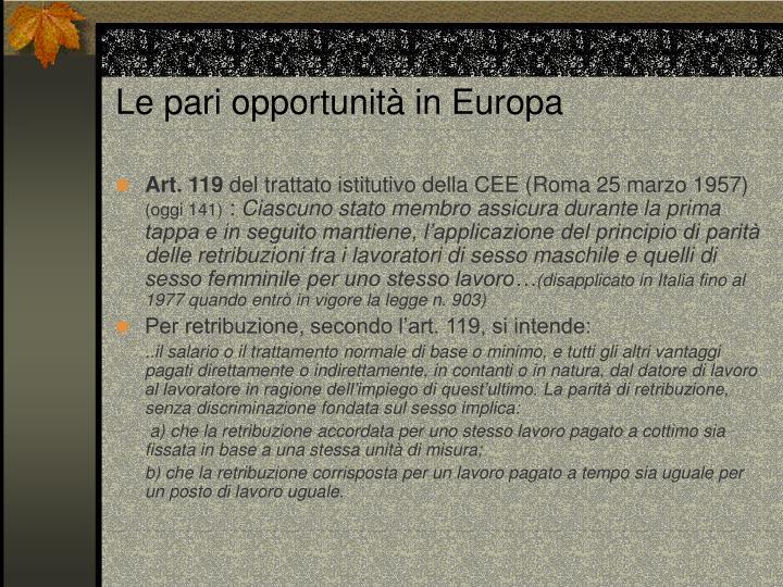 Le pari opportunità in Europa