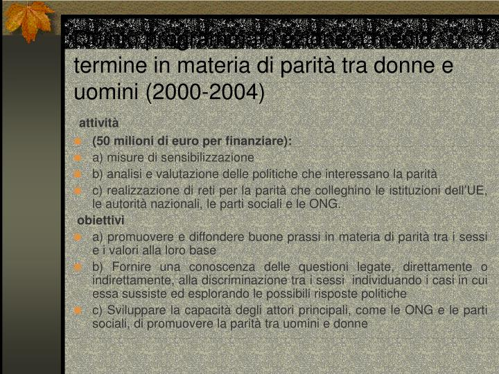 Quinto programma d'azione a medio termine in materia di parità tra donne e uomini (2000-2004)