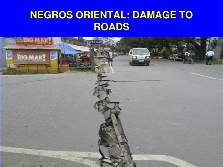 NEGROS ORIENTAL: DAMAGE TO ROADS