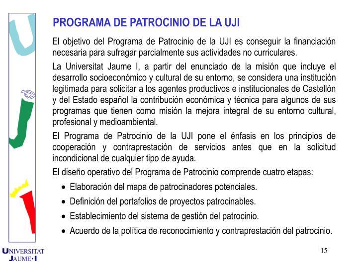 PROGRAMA DE PATROCINIO DE LA UJI