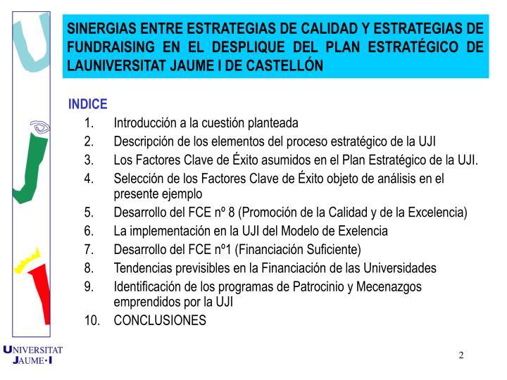 SINERGIAS ENTRE ESTRATEGIAS DE CALIDAD Y ESTRATEGIAS DE FUNDRAISING EN EL DESPLIQUE DEL PLAN ESTRATGICO DE LAUNIVERSITAT JAUME I DE CASTELLN