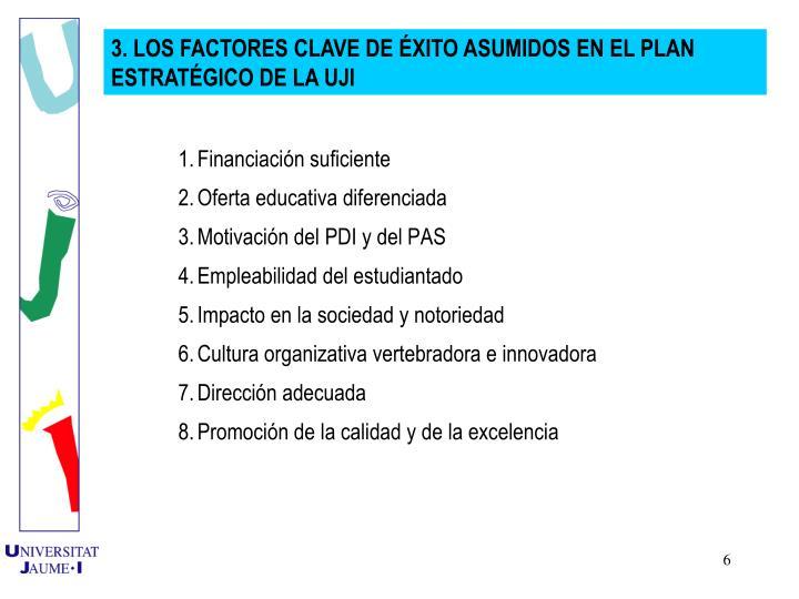 3. LOS FACTORES CLAVE DE XITO ASUMIDOS EN EL PLAN ESTRATGICO DE LA UJI