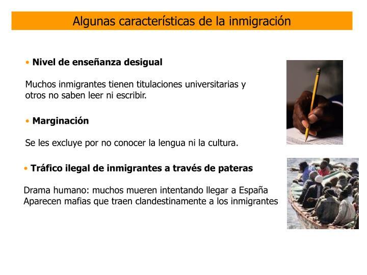 Algunas características de la inmigración