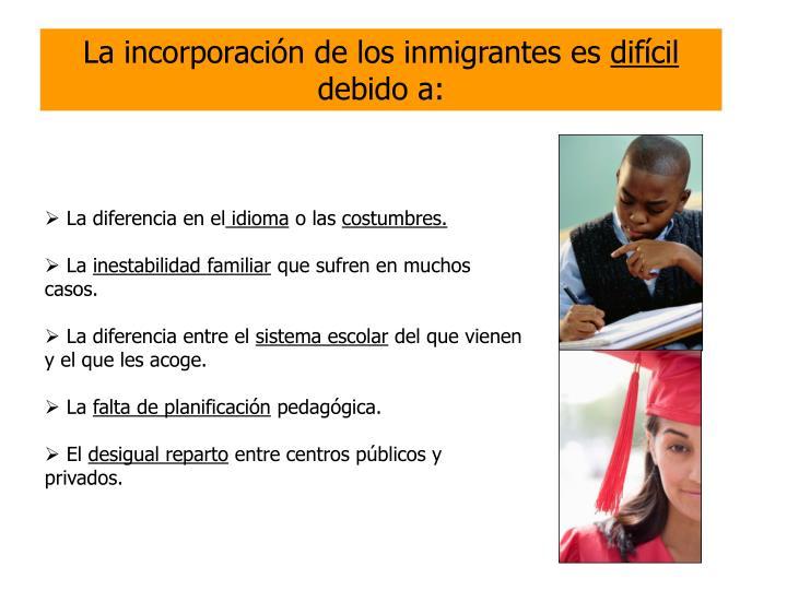 La incorporación de los inmigrantes es