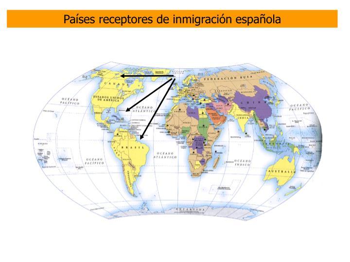 Países receptores de inmigración española