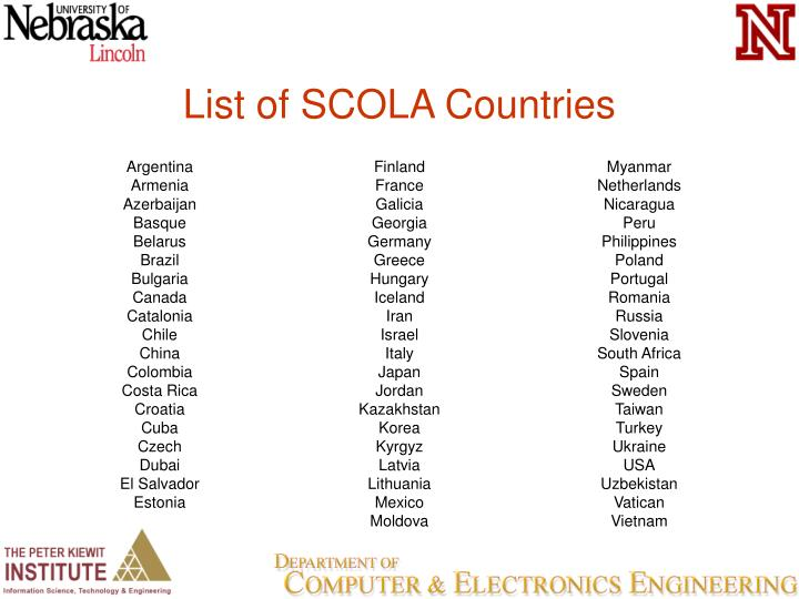 List of SCOLA Countries