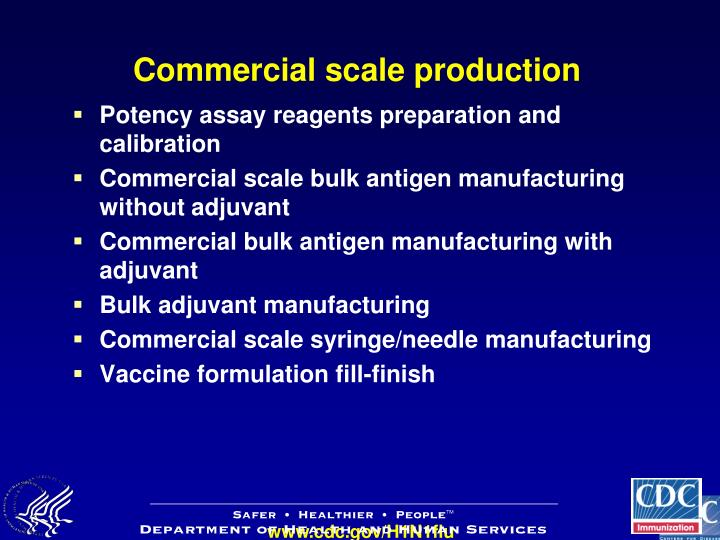Commercial scale production