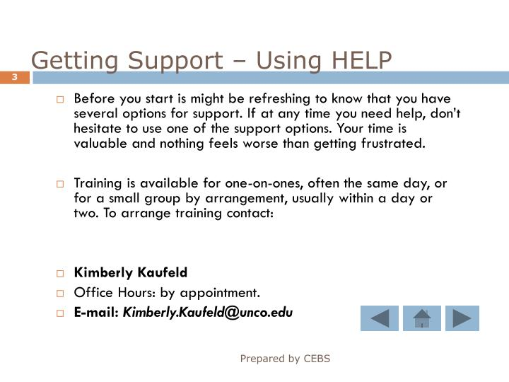 Getting Support – Using HELP