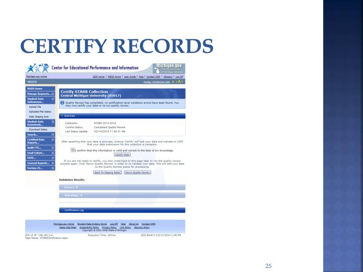 Certify records