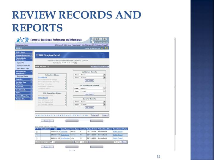 review records and reports