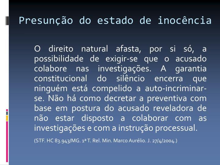 Presunção do estado de inocência