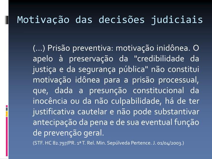 Motivação das decisões judiciais