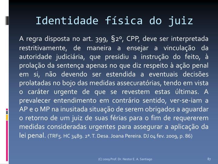 Identidade física do juiz