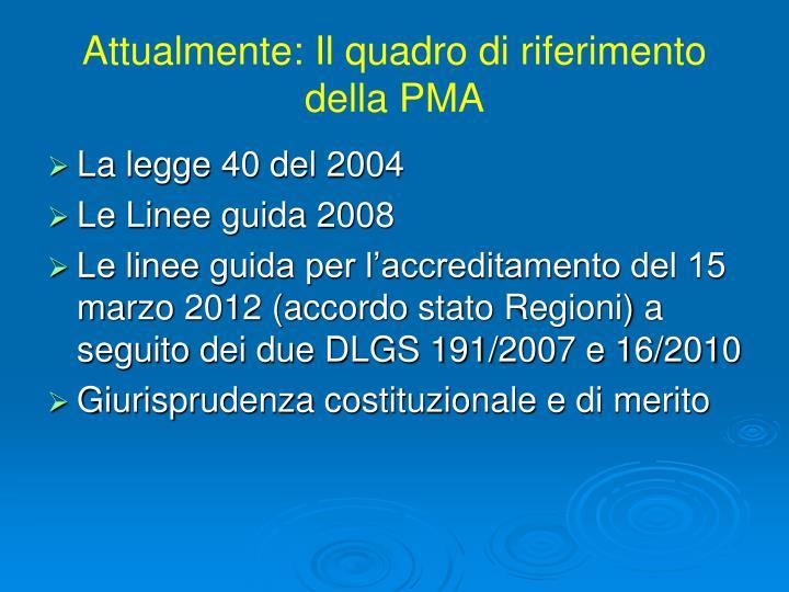 Attualmente: Il quadro di riferimento della PMA