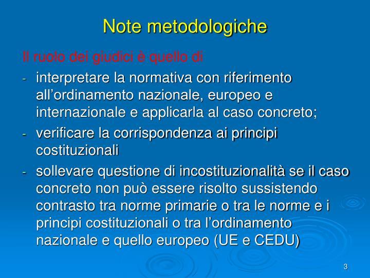 Note metodologiche
