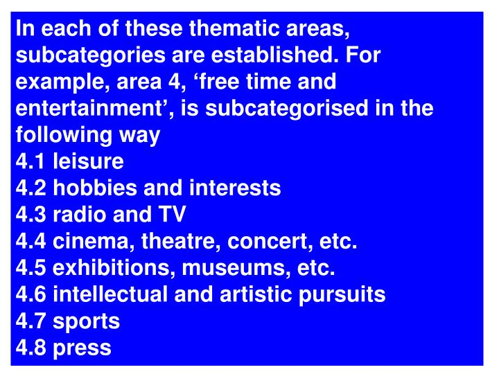 In each of these thematic areas, subcategories are established. For example, area 4, free time and entertainment, is subcategorised in the following way