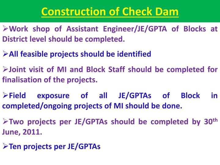 Construction of Check Dam