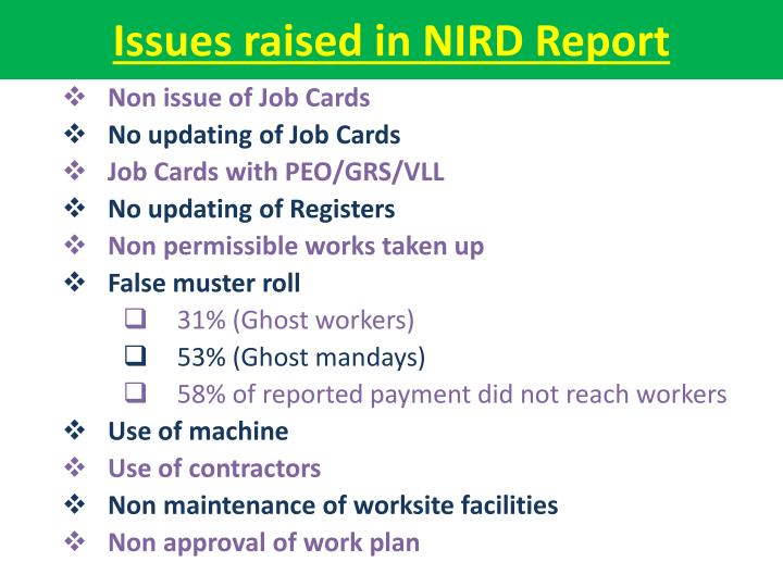 Issues raised in nird report