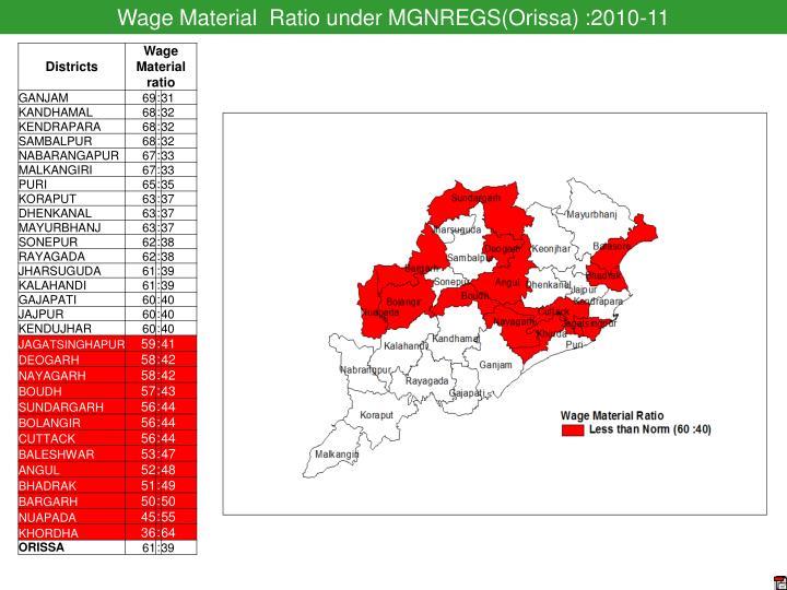 Wage Material  Ratio under MGNREGS(Orissa) :2010-11