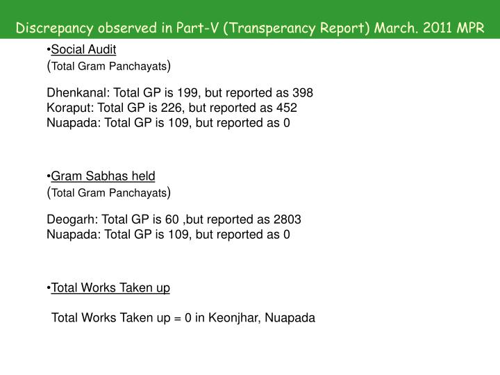 Discrepancy observed in Part-V (Transperancy Report) March. 2011 MPR