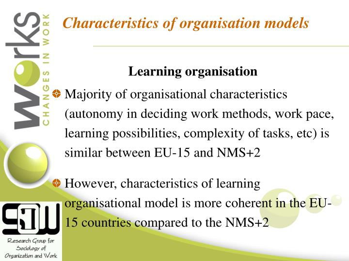 Characteristics of organisation models