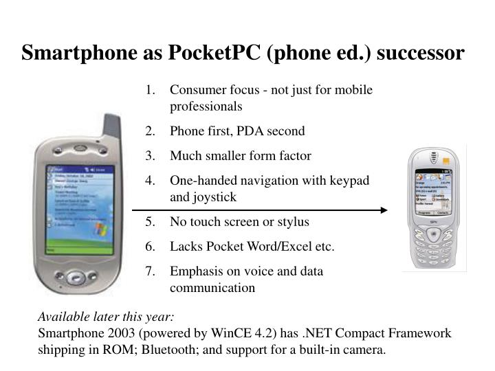 Smartphone as PocketPC (phone ed.) successor