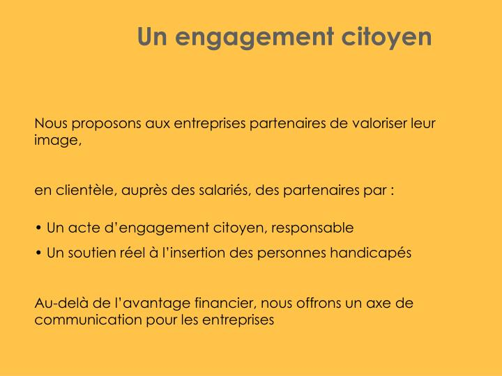 Un engagement citoyen