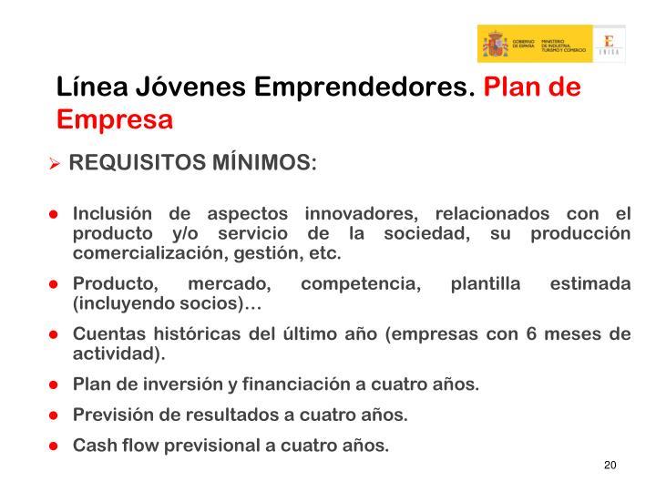 Línea Jóvenes Emprendedores.