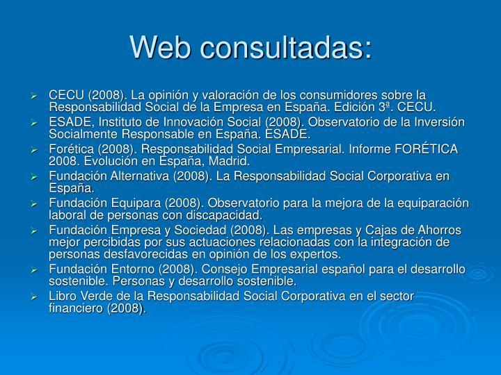 Web consultadas: