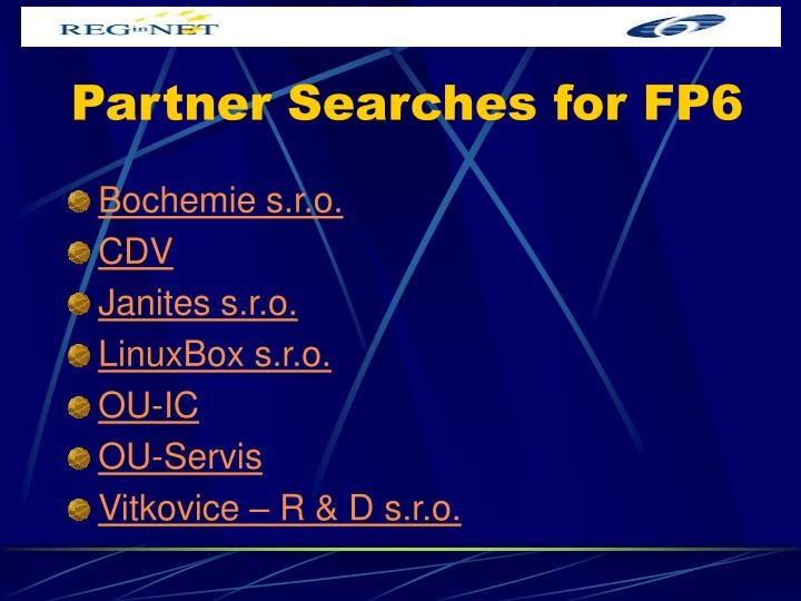 Partner Searches for FP6