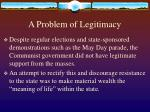 a problem of legitimacy