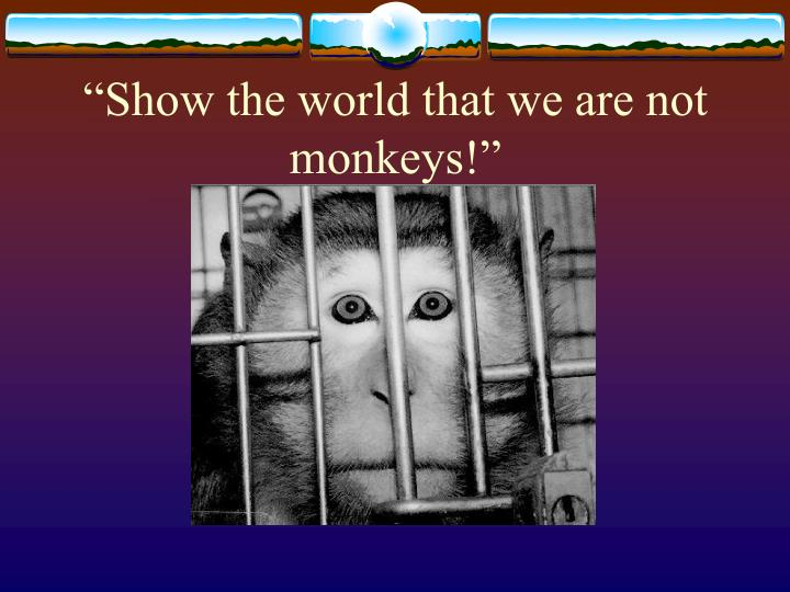 """""""Show the world that we are not monkeys!"""""""