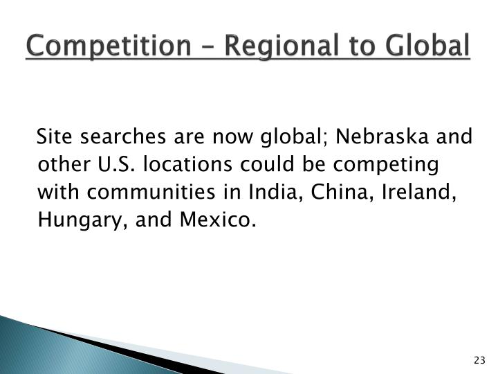 Competition – Regional to Global