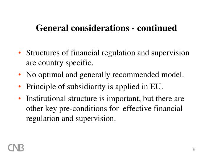 General considerations - continued