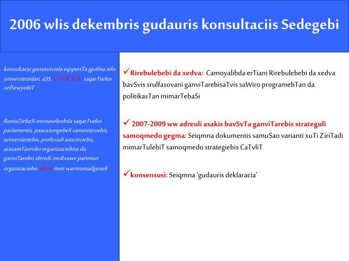 2006 wlis dekembris gudauris konsultaciis Sedegebi
