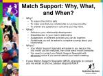 match support why what and when