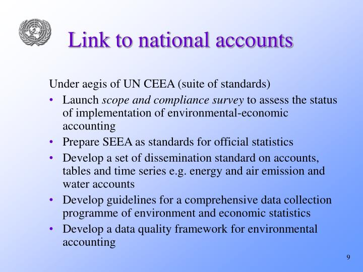 Link to national accounts