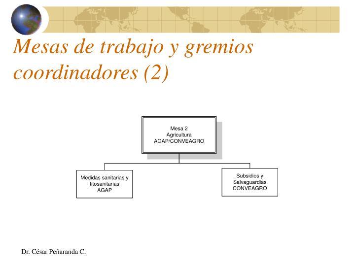 Mesas de trabajo y gremios coordinadores (2)