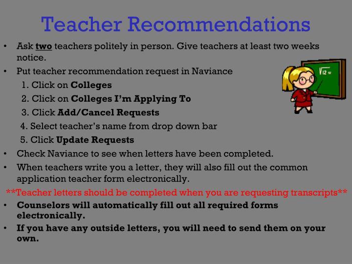 Teacher Recommendations