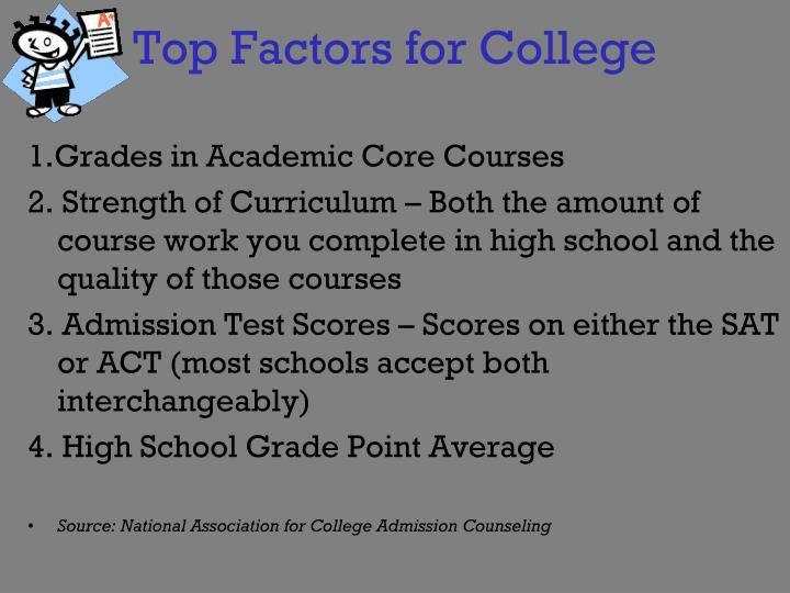 Top Factors for College