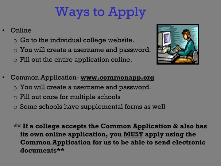 Ways to Apply