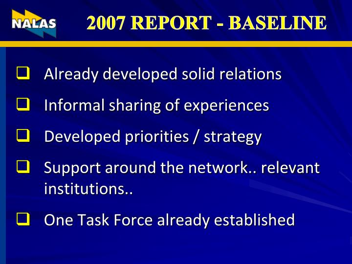 2007 REPORT - BASELINE