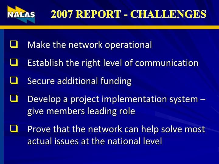 2007 REPORT - CHALLENGES