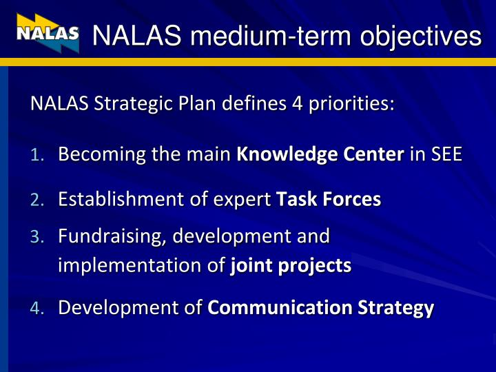 NALAS medium-term objectives