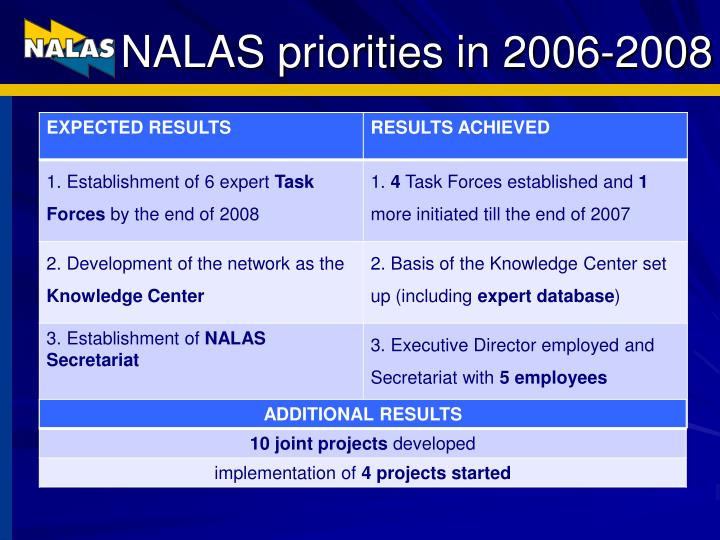 NALAS priorities in 2006-2008