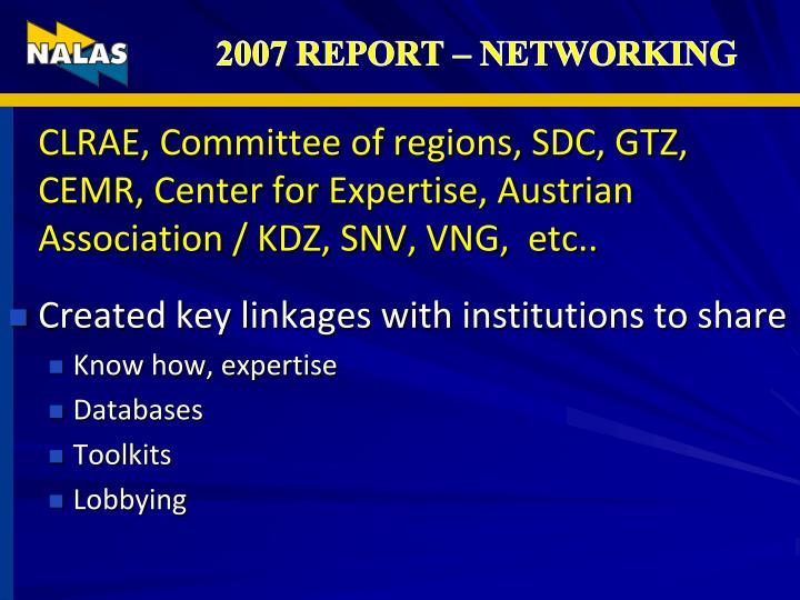 2007 REPORT – NETWORKING