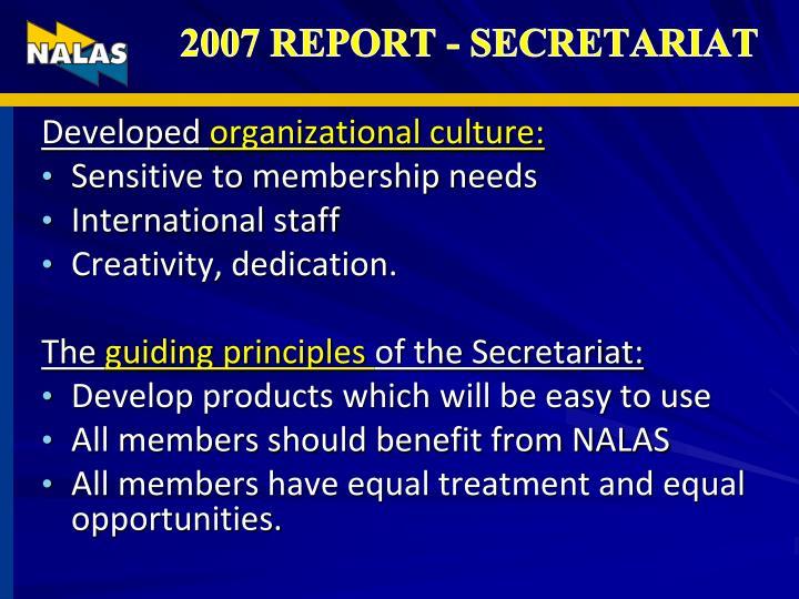 2007 REPORT - SECRETARIAT