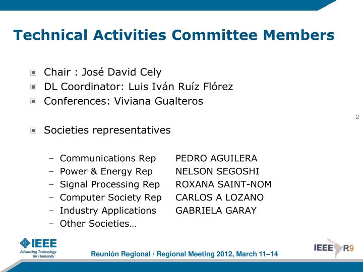 Technical activities committee members