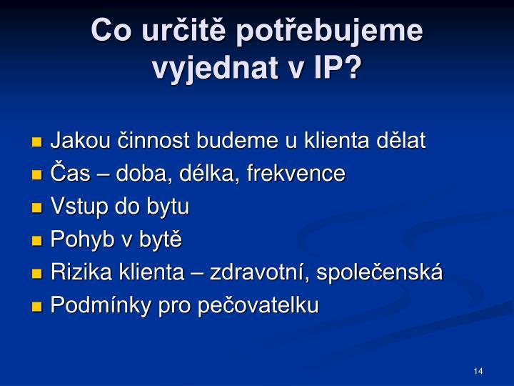 Co určitě potřebujeme vyjednat v IP?